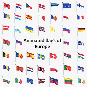 3D Animated All Flags Of Europe model