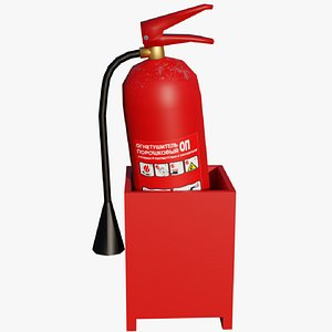 Lowpoly fire extinguisher in box model