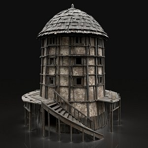 3D medieval watchtower tower