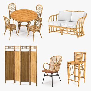 Bamboo Furniture  Collection 3D model