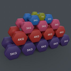 PBR 1-5KG Women Hexagon Dumbbell V2 - Neoprene Coated 3D model