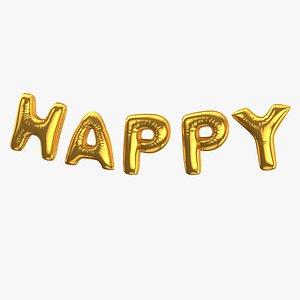 Foil Baloon Words Happy Gold 3D model