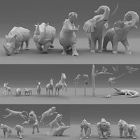 Low Poly - Triangulated Stylized animals pack 3D print