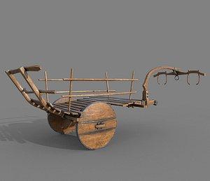 Wooden Medieval Ox Cart 3D model