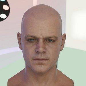 3d matt damon head male model