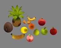 Moldy fruits -coconut-banana-pomegranate-apples-pear-orange
