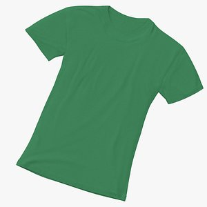 Female Crew Neck Laying Green 3D