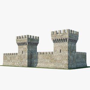 3D Medieval wall V01