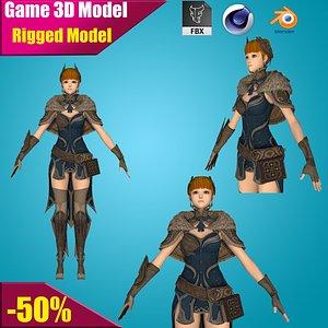 3D elf warrior female