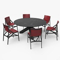Cassina Dining Table Chair Set Black Marble Red