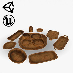 Stylized Wooden Dishes 3D
