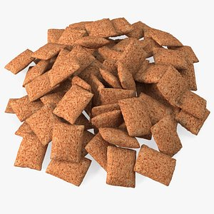 Chocolate Cereal Pillow Flakes Pile 3D model