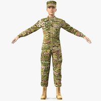 Female US Soldier Camouflage Fur Rigged