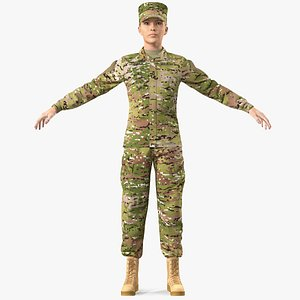female soldier camouflage fur 3D model