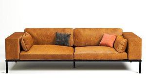 3D model camel leather sofa wellington