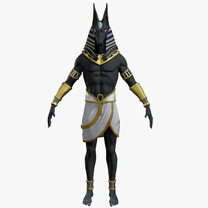 Anubis and Egyptian axe 3D model