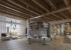 3D Library Reading Room Bookstore Xinhua Bookstore Bookbar Bookshelf University Library Library