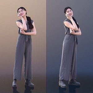 3D model woman young phone