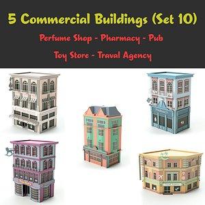 set 10 shop store 3D model