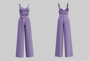 3D Crop Top Cami and Wide  leg palazzo pants 2 piece outfit