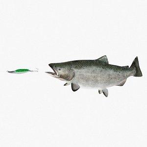 king salmon fish lure 3D model
