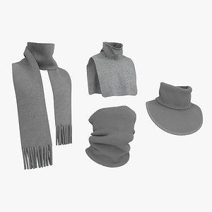 3D Winter scarves pack MD CLO 3D zprj projects obj fbx model
