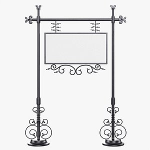 Forged column with hanging board 07 3D