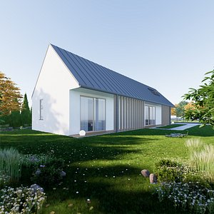 Bungalow 3 - Created with fully parametric Revit Families 3D model