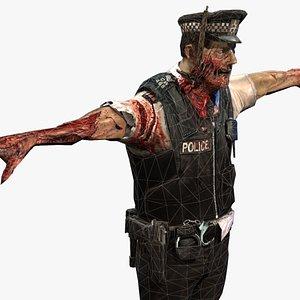 zombie officer walking 3D