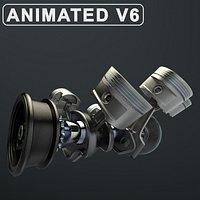 V6 Engine Working Animated