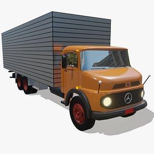 3D MB 1113 6x2 box truck low poly model