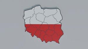 3D Political Map of Poland model