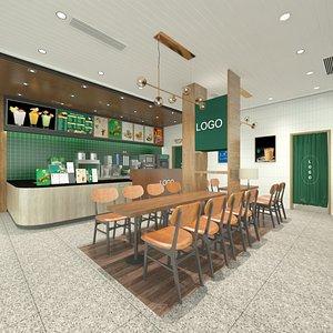 3D Full Restaurant Design - Tea and Waffles model