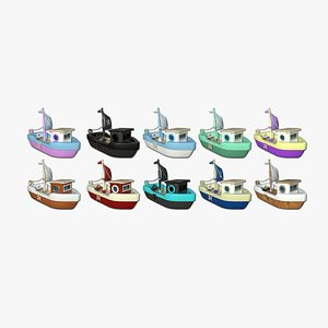 10 Cartoon Boat Collection - Low Poly Ship 3D model