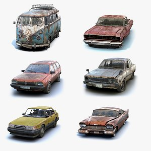 3D Rusty Retro Cars Collection
