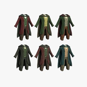 3D 06 Hobbit Outfit Collection  - Character Design Fashion model