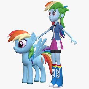3D model Human Rainbow Dash EG Character And Pony Collection 8K