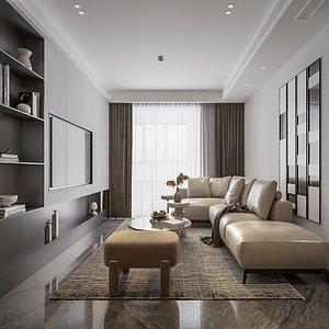 3D 3D model interior living reception model