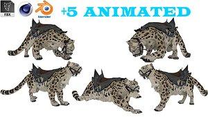 Snow Leopard 5 Animated 3D model 3D