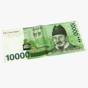 Korea Republic Won KRW 10000 Banknote 3D