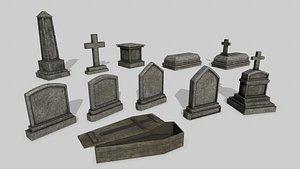 3D Tomb Stone Set