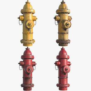 3D hydrant red yellow