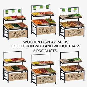 3D model Wooden Display Racks Collection With and Without Tag