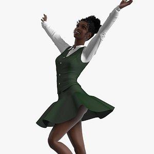 Black Teenage Schoolgirl Rigged for Modo 3D model