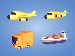 Cartoon Cargo Vehicles Pack model