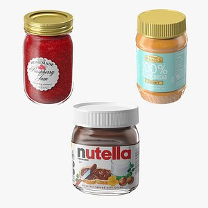 3D Nutella Peanut butter Jam Collection 2 model