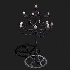 3D Standing Elegant Candle Chandelier model