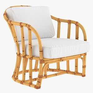 Bamboo Armchair with Cushions 3D model