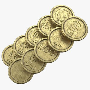 3D Old Gold Coin with 10 different 2K PBR textures and 3 color model