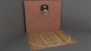 3D basketball court ball model
